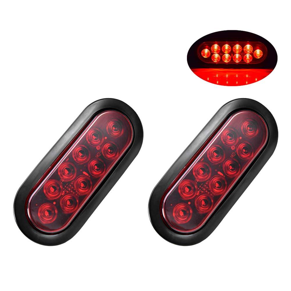 Ai CAR FUN 2 PCS 10 LED Turn Signal Tail Marker Lights Side Marker Indicators Lights Turn Tail Reverse Light Backup Light Waterproof Universal for Trucks, Trailers, RVs, and Boats