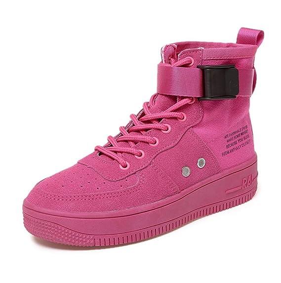 ed75c3584e8a0 SHANGWU Zapatillas Altas para Mujer Zapatillas de Hip-Hop para Mujer  Zapatos de Chapado de Matorral Calzado Casual 2018 Muffin Bottom de Verano  Rose Red ...