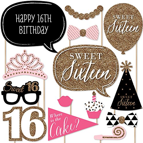 Chic 16th Birthday - Pink, Black and Gold - Photo Booth Props Kit - 20 Count ()