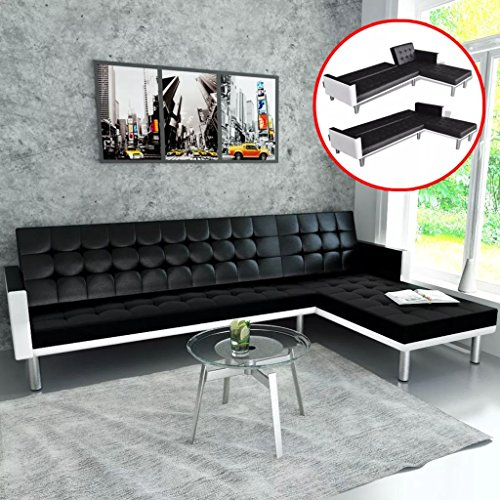 Festnight Modern Upholstery Sectional Sofa Bed Faxu Leather Sleeper L-Shaped Wooden Frame FoldingRecliner Couch with Armrests for Living Room