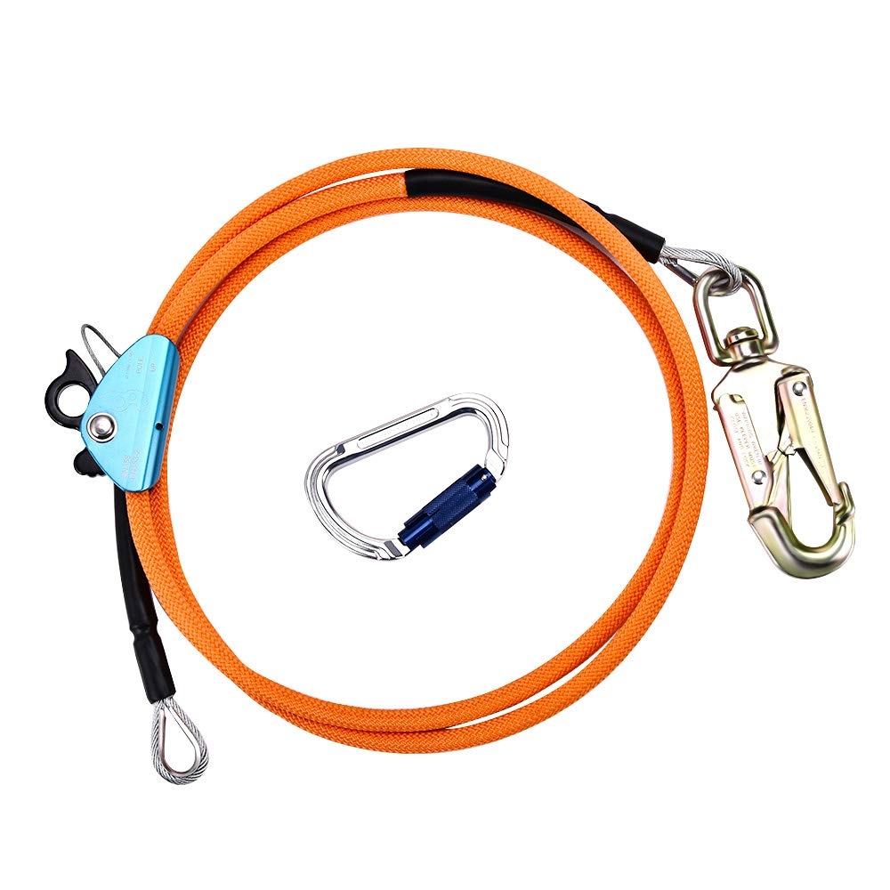 4YANG Steel Wire Core Flip Line Kits - Flipline with Triple Lock Carabiner Adjuster, Adjustable Lanyard, Low Stretch, Cut Resistant - for Fall Protection, Arborist, Tree Climbers (1/2x10ft)
