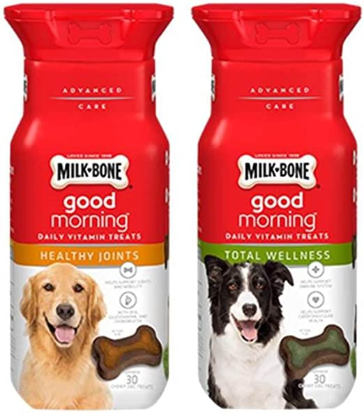 Milk-Bone Good Morning Daily Vitamin Treats 2 Flavor Variety Bundle: (1) Healthy Joints, and (1) Total Wellness, 6 Ounces