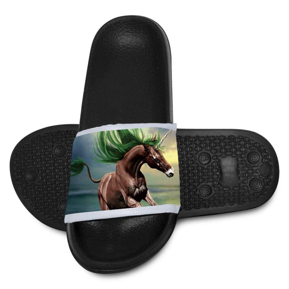 Qujki Kids Unicorn Horse Beach Sandal Non-Slip Bath Slipper Black