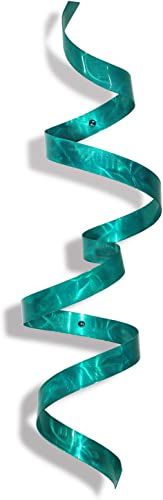 Contemporary Metal Wall Sculpture – Modern Handcrafted Abstract Wall Twist Metal Art – Blue Home Accent Wall Decor – Teal Twist by Jon Allen