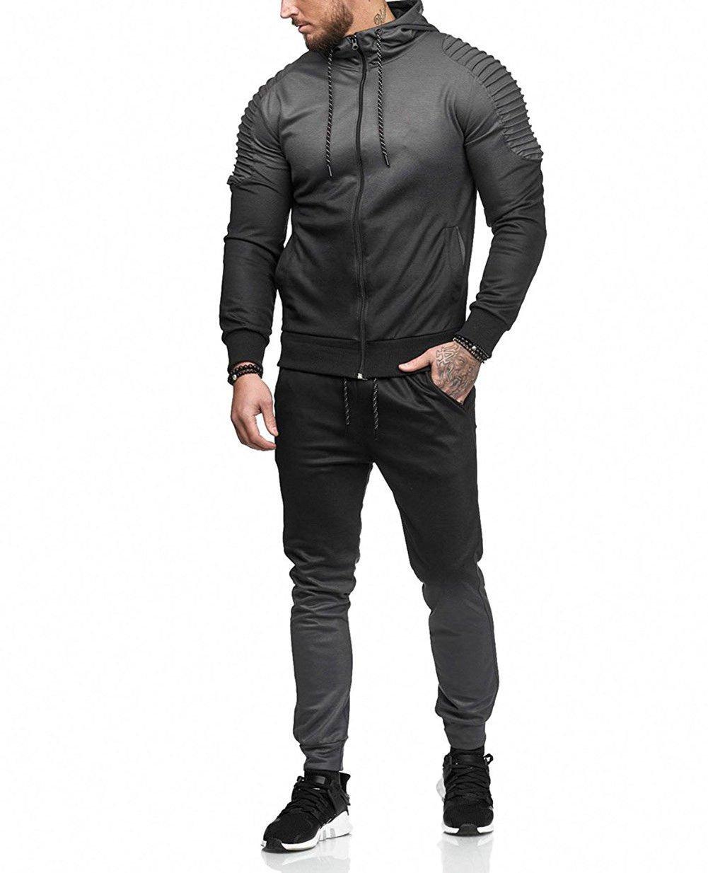 Men's 2 Piece Casual Gradient Sport Suit Contrast Jogging Full Sweatsuit Tracksuit Outfit Zipper Hoodies Jacket Coat and Pant (Gray, M)