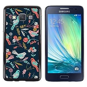 Caucho caso de Shell duro de la cubierta de accesorios de protección BY RAYDREAMMM - Samsung Galaxy A3 SM-A300 - Birds Pattern Floral Wallpaper