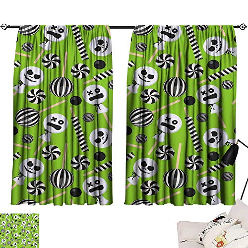 SINXY&CASE Thermal Insulating Blackout Curtain Halloween Candy Seamless Pattern3 63
