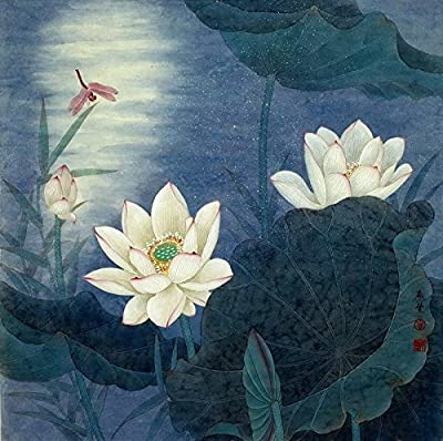 Lutos Pond under Moon Oil Painting Reprodution. Based on Famous Traditional Chinese Realistic Painting. (Unframed and Unstretched).