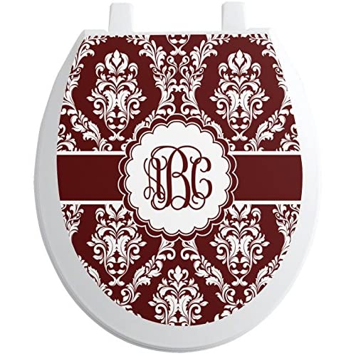 Maroon & White Toilet Seat Decal - Round (Personalized) low-cost