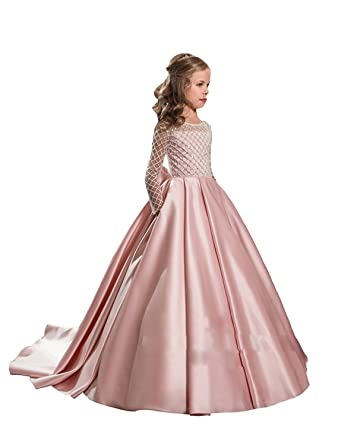 90a6bc7a5a57d Nina Blusher Flower Girl Dresses Adorable Bow Kids Party Gown Junior Girl  Bridesmaid Dress (2