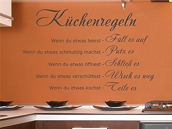 x-modeling® Wandtattoo Küchenregeln Essen Küche Wandaufkleber Wanddeko  Sprüche X2124 mint 80cm x 49cm