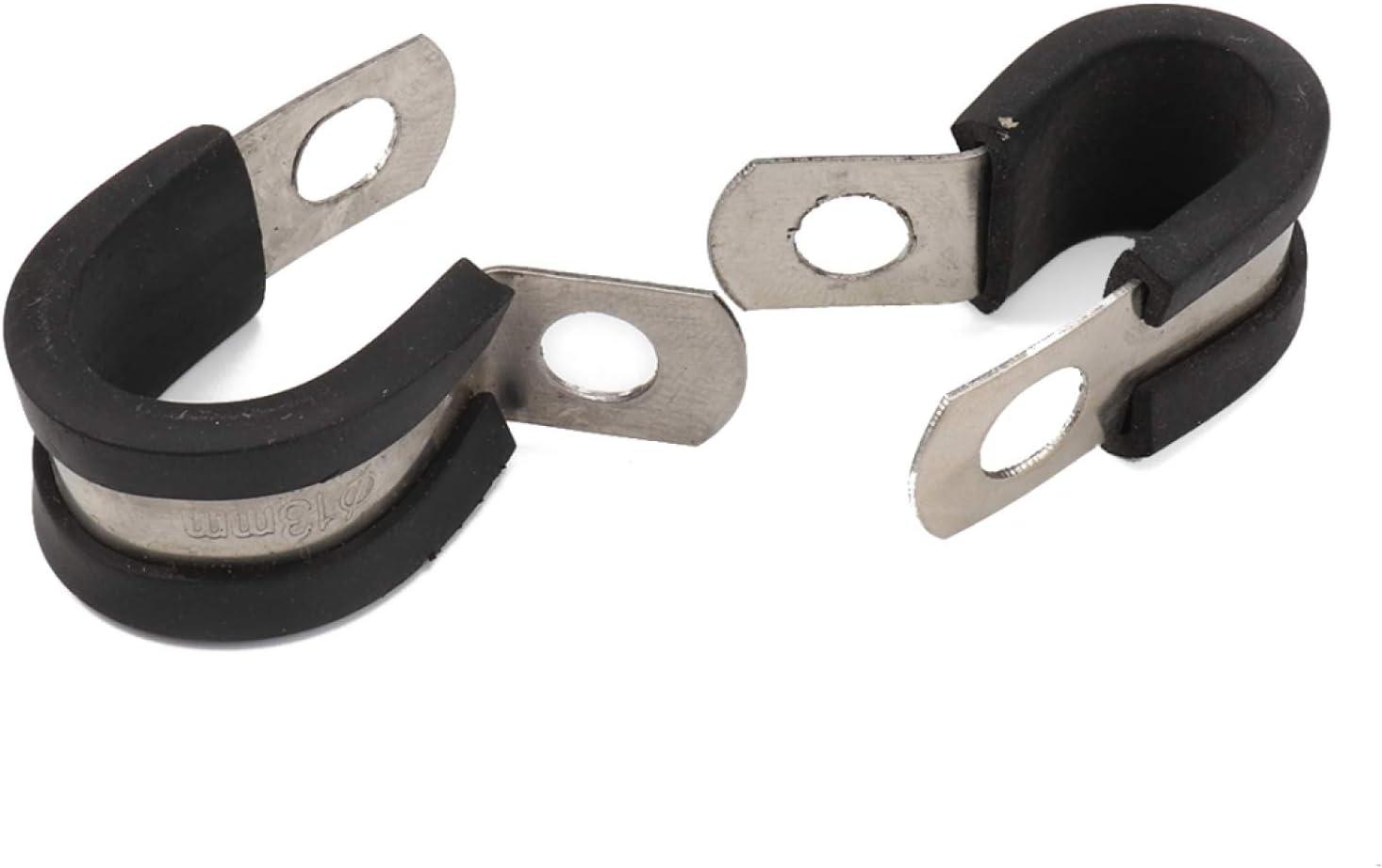 3//4 pulgadas, 10 p Abrazadera de cable de automoci/ón Amortiguador del coche de goma abrazaderas de pipa de acero inoxidable Abrazaderas y amortiguador de cable de goma Abrazaderas evitar la fricci/ón