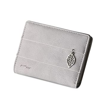 Amazon.com: 3 SIZE Women Leaf Hasp Wallet Short Long Leather Coin Purses Card Holders Girls Money Clutch Carteras Grey small