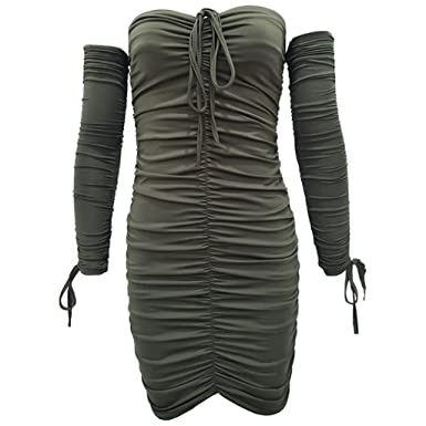 Best-Topshop Womens Sexy Off Shoulder Strapless Ruched Slim Bodycon Club Mini Dress (Army