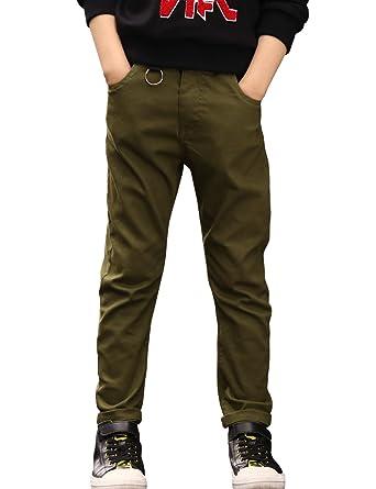 30bbe9ca48 BYCR Boys' Skinny Elastic Waistband Cotton Jogging Pants W9177100732 (Army  Green, 120 (