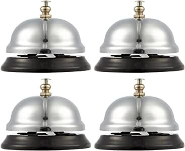 Call Bell - 4-Pack Customer Service Bell, Office Desk Bell, Ringing Bell - for Home, Store or Hotel, Small, Silver, 2.5 x 2 x 2.5 Inches