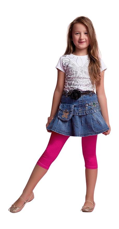 50dbadc14 OssaFashion Leggings Cortos 3/4 Niñas Color Sólido Algodón Pantalones Capri  Danza Ballet Gimnasia