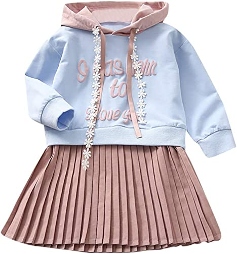 Toddler Kids Baby Girls Clothes Sets 6 Months-6T,Lovely Long Sleeve Letter Sequined Hooded Pullover Sweater Outfits