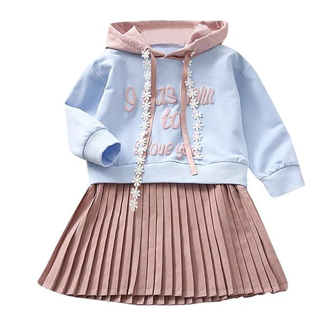 ZODOF Vestido de otoño de niña Falda Plisada Rosa Carta de la Princesa del Vestido de