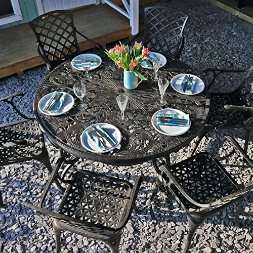 Lazy Susan - Table ronde 135 cm JOYCE et 6 chaises de jardin ...