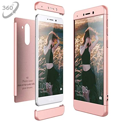 Funda Huawei Honor 6X, Ultra Delgado 360 Carcasa 3 en 1 PC Hard Desmontable Shock-Absorción Anti-Arañazos Skin Case Cover para Huawei Honor 6X [Oro ...