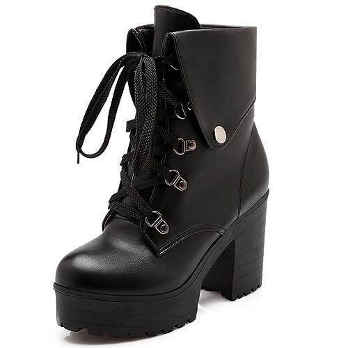 RAZAMAZA Mujer Botines Zapatos De Cordones Plataforma Tacon Alto Martin Boots: Amazon.es: Zapatos y complementos