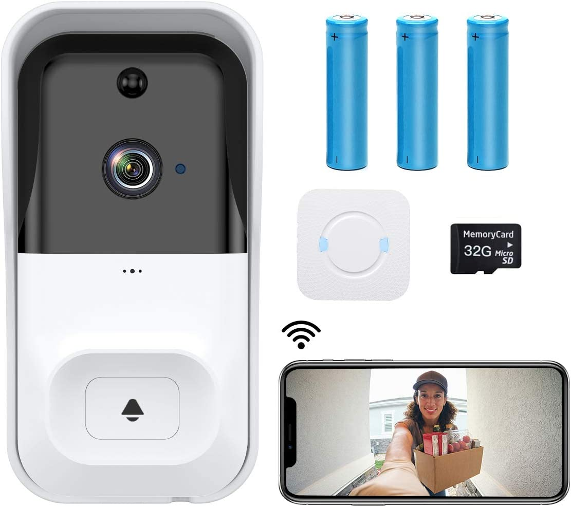 【2021 Upgrade】 WiFi Video Doorbell Camera,CASTRIES 1080P Wireless Doorbell Camera with Indoor Chime,2-Way Audio,Motion Detection,Night Vision,IP65 Waterproof,Cloud Storage and 32GB SD Card Included
