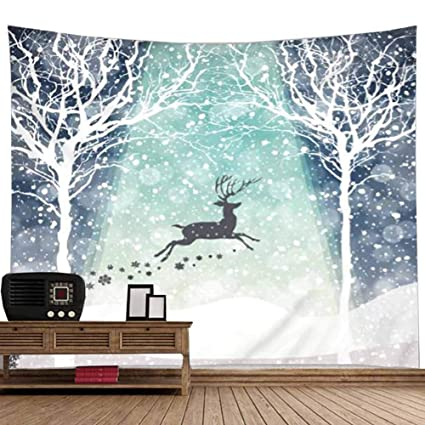 Amazon com: POPPAP Cold Winter Snow Wall Tapestry A Deer is