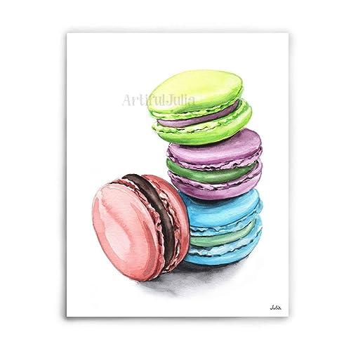 Watercolor Macaron Earrings Original Art
