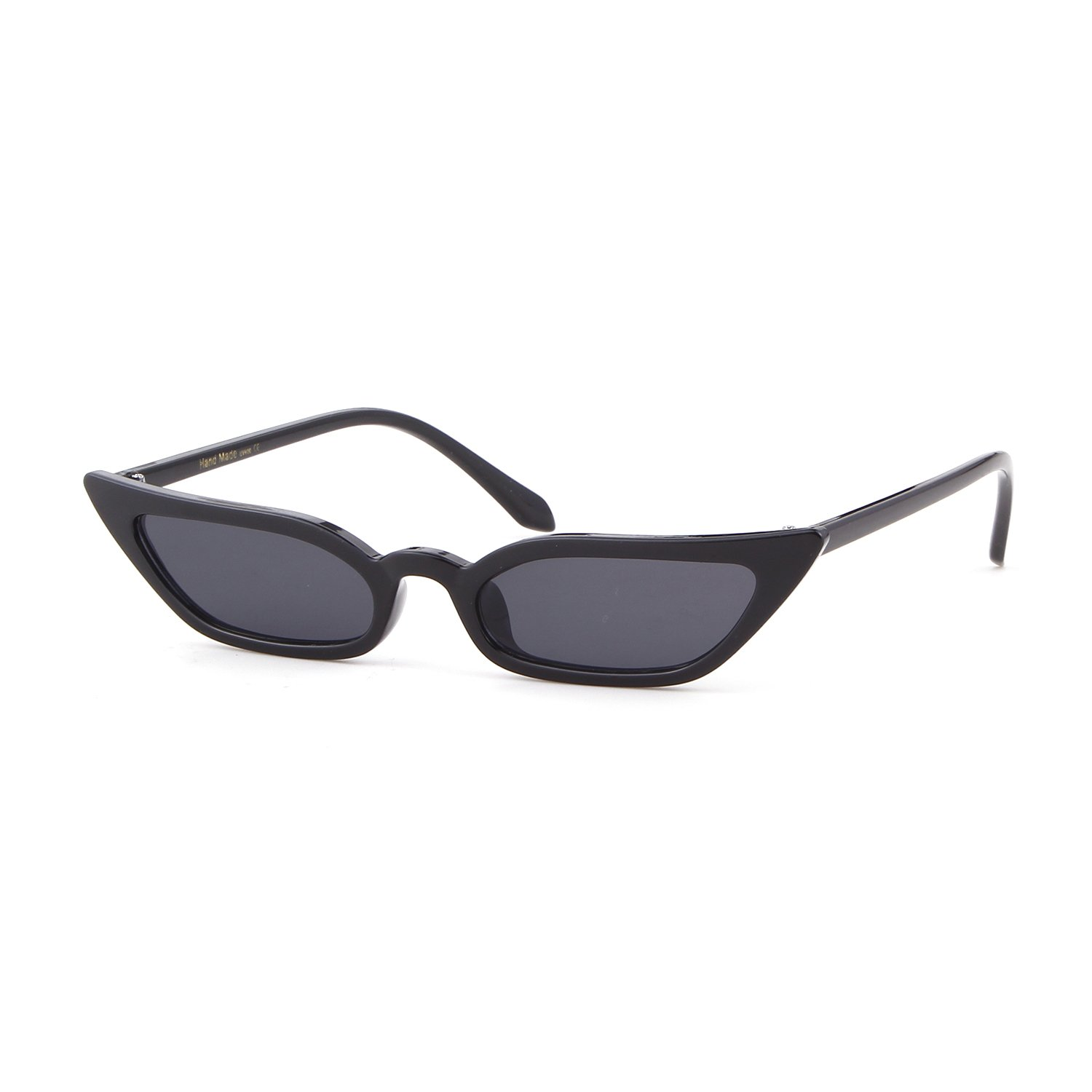 d675dbe9cd Amazon.com  Small Skinny Cat Eye Sunglasses Vintage Sex Square Frame Clout  Goggles for Women (Black Gray