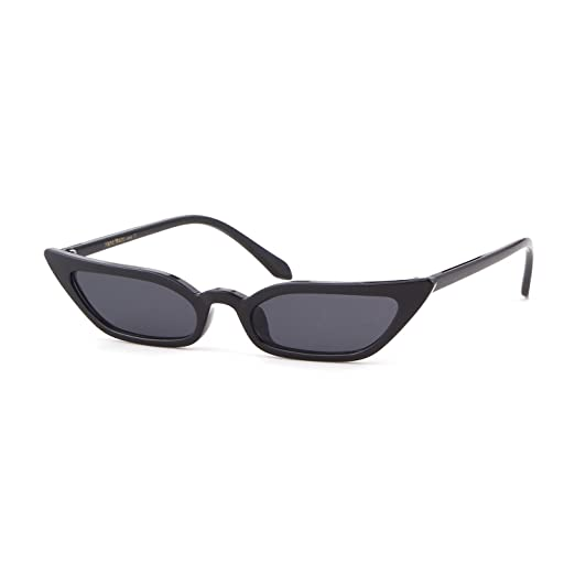 f629a7eeaeb6a Small Skinny Cat Eye Sunglasses Vintage Sex Square Frame Clout Goggles for  Women (Black