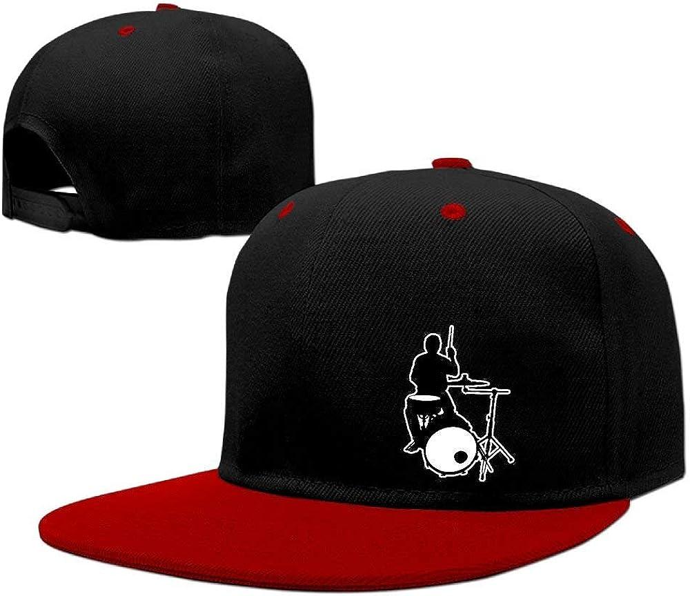 GongYe Boy Girl Drummer Adjustable Contrast Color Hiphop Falt Hat Baseball Cap RedOne Size