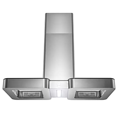 Golden Vantage 38 Island Mount Range Hood with LED Light in Stainless Steel and Tempered Glass