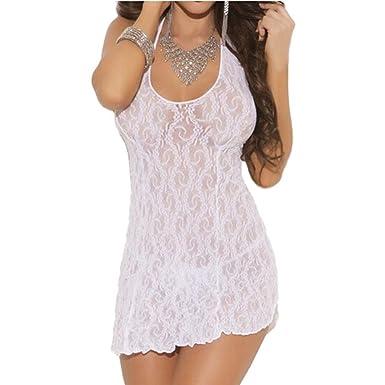 Vestido para Mujer, Oyedens Lencería Lace Halter Profundo v Cuello Mini Vestido (Negro): Amazon.es: Ropa y accesorios