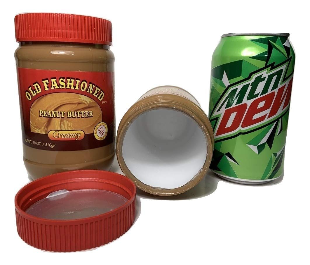 Stash Safes Diversion Secret Safe Peanut Butter with Mountain Dew Soda Can Container to Hide Money Jewelry Stuff Plus Free Smell Proof Bag