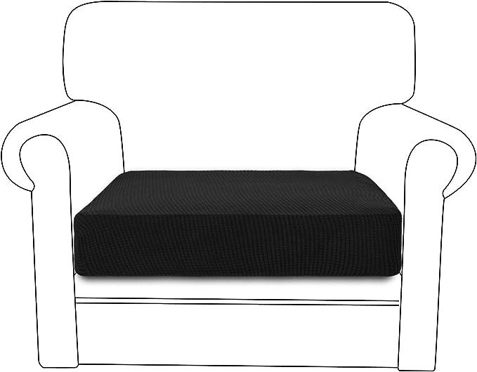 RHF Jacquard Chair Cushion Cover Stretch Cushion Cover Cushion Slipcovers Furniture Protector for Chair Seat with Elastic Bottom (Chair Cushion, Black)