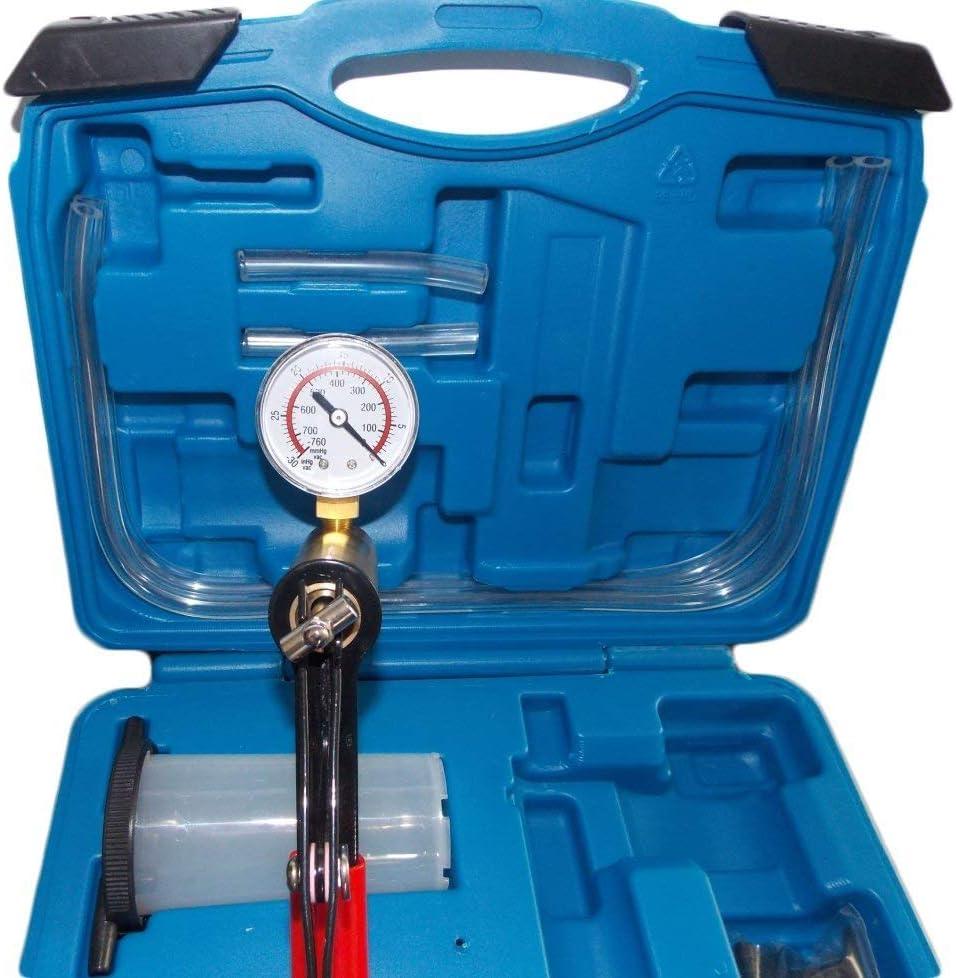 KFZTEILESCHNELLVERSAND24 Vakuumpumpe Bremsenentl/üfter Bremsenentl/üftungsger/ät Vakuum Vakuumtester Set Anzeige bis 760 mm Hg mit Koffer