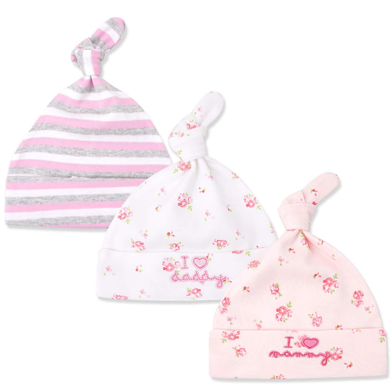 Tyidalin Lot de 3 Bonnet de Naissance Bébé Fille, 100% Coton Beanie Nœud Nouveau Née Mignon pour Printemps Été 0-6 Mois