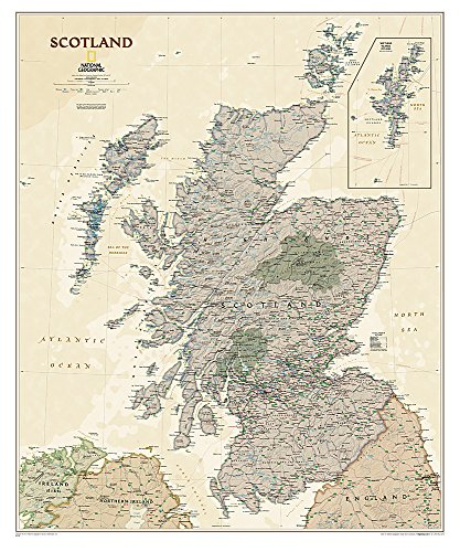 National Geographic: Scotland Executive Wall Map (30 x 36 inches) (National Geographic Reference...