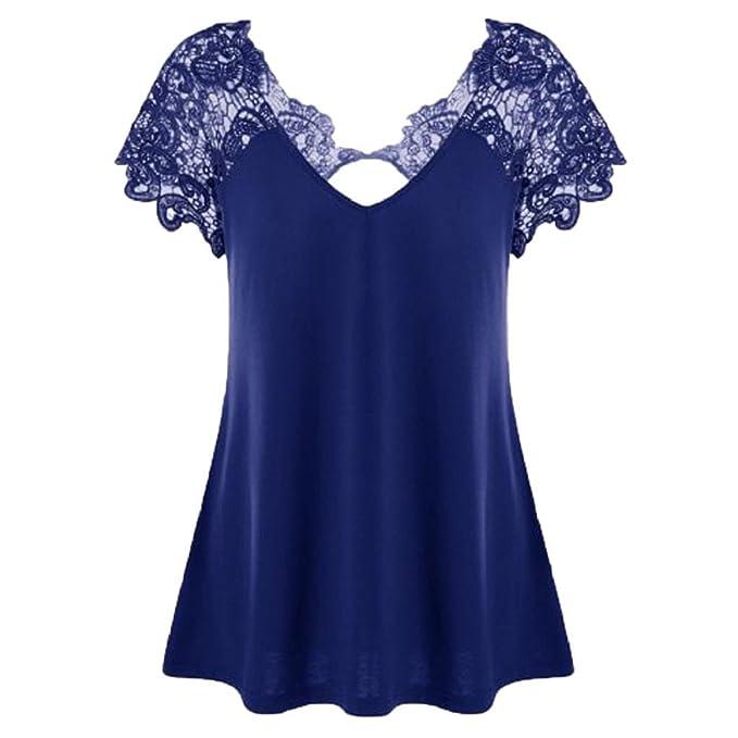 QUICKLYLY 2018 Camisetas Mujer Verano Talla Grande Suelto Casual Blusa Moda Cuello EN V Encaje Flora