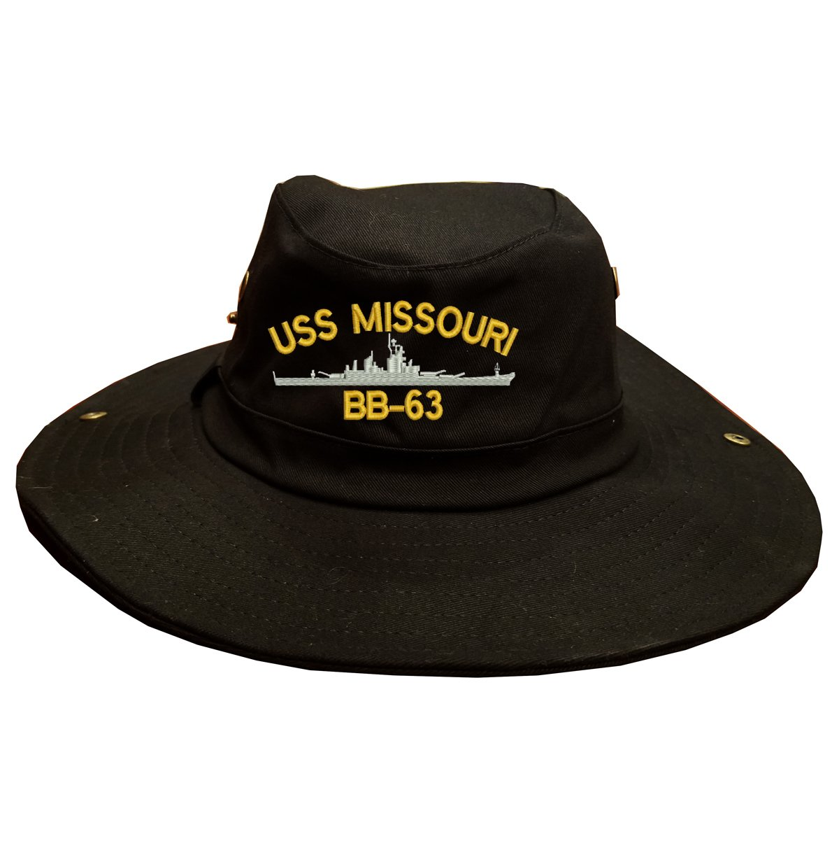 USS Missouri bb-63 Ship 100 % Cotton Military Boonie Bush Hatブラック   B075M8MCG8