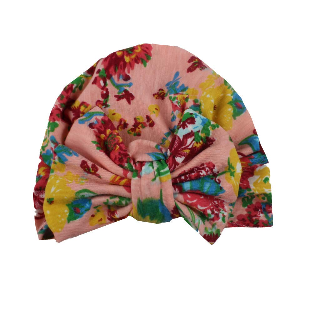 Yamalans Colorful Flower Printed Bowknot Turban Cap Toddler Baby Girls Elastic Beanie Hat,Suit 0-4 Years Old