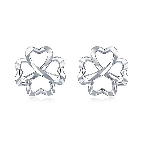 a5568b71ee617 Amazon.com: MaBelle 14K White Gold Diamond-Cut Hollow Four-Leaf ...