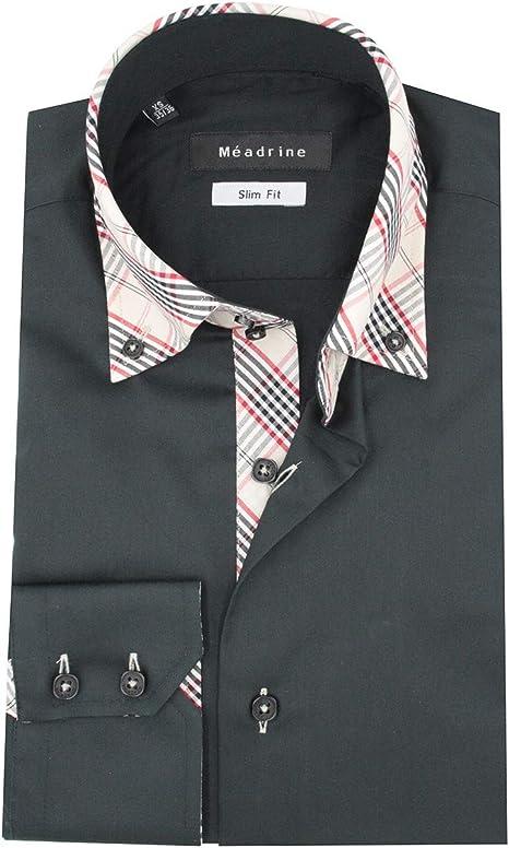 Meadrine - Camisa entallada negra con cuello y coderas a cuadros: Amazon.es: Ropa y accesorios