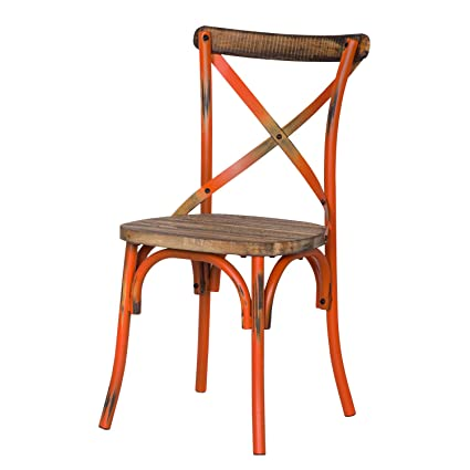 Beau Adeco Metal Chair With Cross Style Back, Solid Elm Wood Dining Side Chair,  Orange