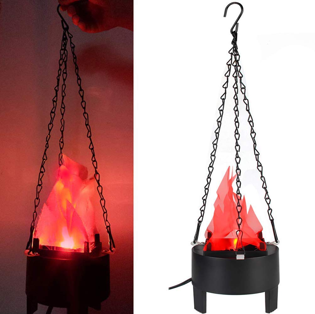 TOPCHANCES Electric LED Hanging Flaming Fake Fire Lamp Eeffect Torch Light for Halloween Xmas Party Decor Holiday Supplies(7.8 X 7.8 X 3.9inch)- 110V US Plug (Hange& Table Lamp)