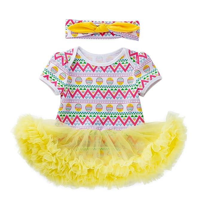 278177030 Mitlfuny Pascua Huevo Mameluco Princesa Vestidos Primavera Verano Bebé Ropa  para Niña sin Manga Tul Cosiendo