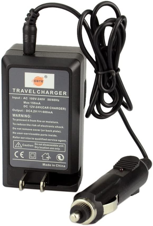 DC75 Travel and Car Charger Adapter Compatible Casio EX-Z7 Z8 Z11 Z60 Z65 Z70 Z75 Z77 M1 M2 M20 S1 S2 S3 S20 S100 S500 S600 S770 S880 Camera DSTE Replacement for 2X NP-20 Battery