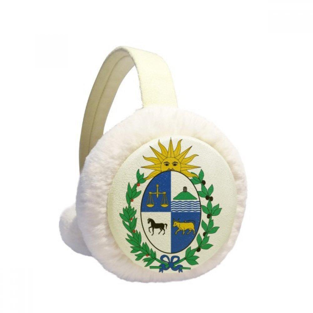 Uruguay South America National Emblem Winter Earmuffs Ear Warmers Faux Fur Foldable Plush Outdoor Gift