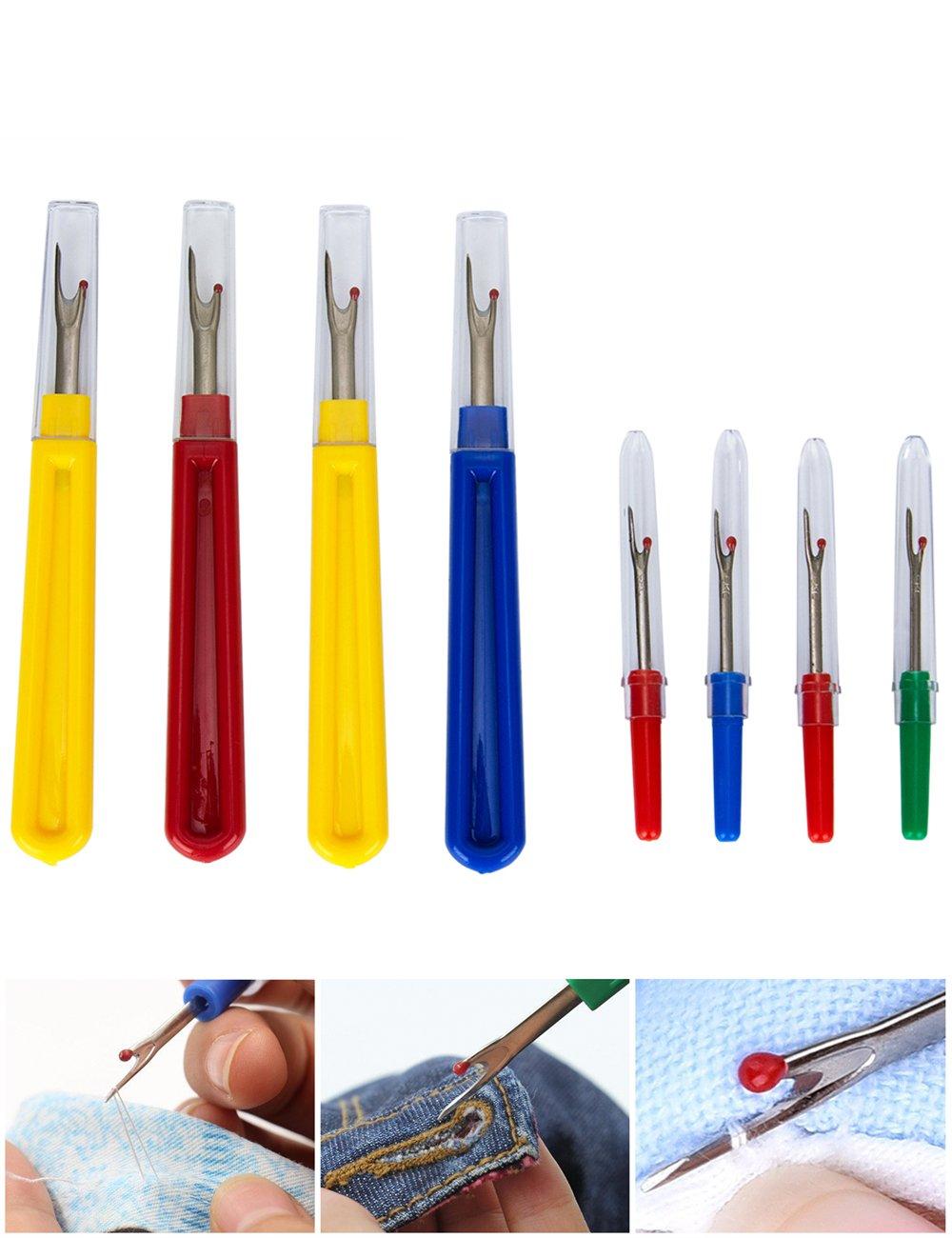 Taglia asole, 8PCS colorato 4grande e 4piccolo Handy Tagliafilo cucito strumenti per rimuovere cuciture, cucitura e apertura con asole Sadzero